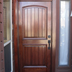 AAW V-Grooved Arched Mahogany Wood Door after
