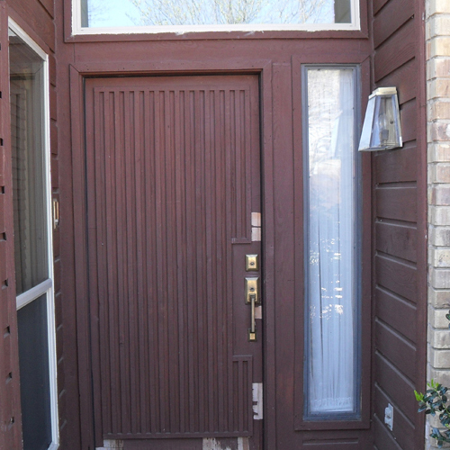 AAW V-Grooved Arched Mahogany Wood Door before
