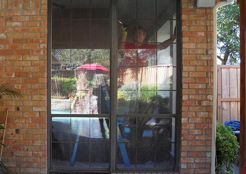 Premium Adobe Vinyl Sliding Patio Door With Transom Richardson before