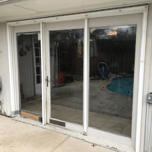 Premium White Vinyl 3-Panel Contemporary Stile And Rail Sliding Patio Door Dallas before