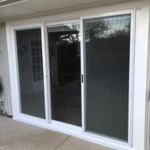 Premium White Vinyl 3-Panel Contemporary Stile And Rail Sliding Patio Door Dallas after