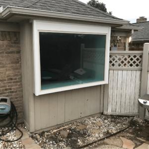 Premium White Vinyl Picture Window Over Bathtub With New Trim Dallas after