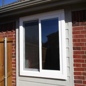 Premium White Vinyl Sliding Window With New Trim Richardson after