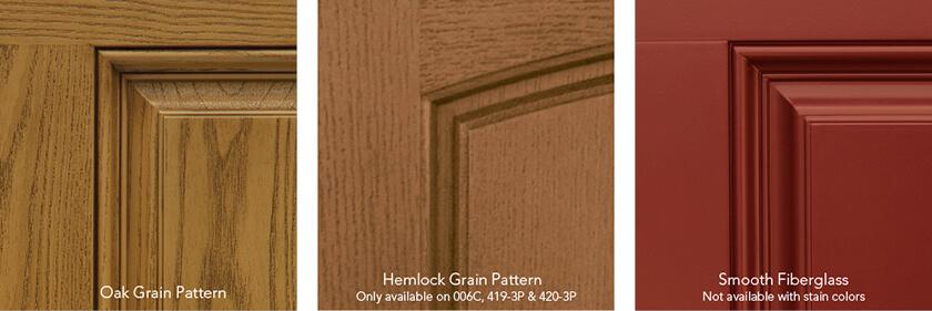 provia heritage fiberglass doors finish samples