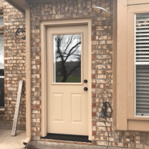 ProVia Legacy Steel Door with Blinds in Glass after