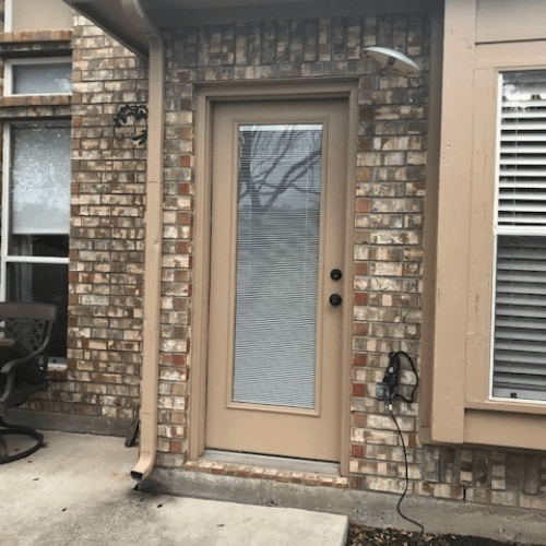ProVia Legacy Steel Door with Blinds in Glass before